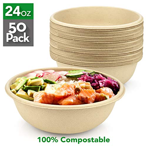 [50 Count] HeloGreen 24 oz. Compostable Bowls – Paper Bowls, Eco Friendly Biodegradable, Disposable Bowls, Hot Soup and Cold Food, Heavy-Duty Quality, Natural, Made of Bagasse Sugar Cane Fibers