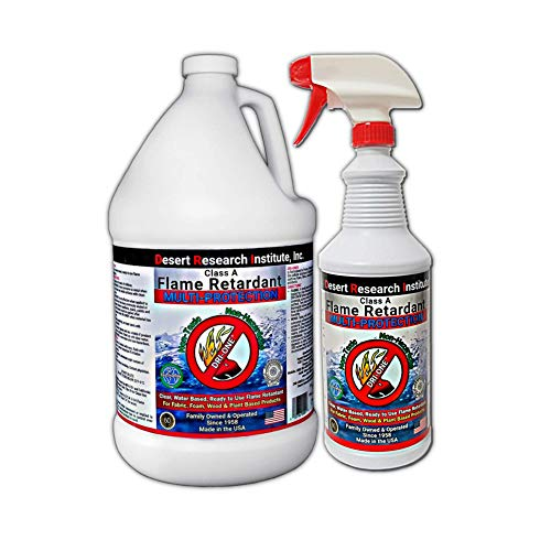 Fire Retardant Spray for Fabric, Wood, Plant Based Products - Class A Flame Retardant Spray - Non Toxic - NFPA 701-1 Quart & 1 Gallon Jug Special by Desert Research Institute, INC.