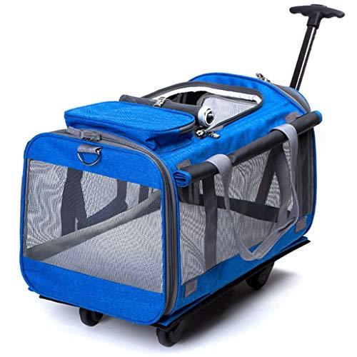 Jlxl Hunde Trolley, Haustier Bag Reise Träger 4 Rollen Träger Gepäcktasche Atmungsaktiv Oxford Teleskopgriff für 13kg Haustier (Color : D)