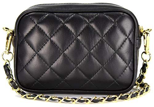 Belli italienische Echt Nappa Leder Abendtasche Damentasche kleine Umhängetasche zum Ausgehen gesteppt - 18x13x7 cm (B x H x T) (Schwarz (Nero))