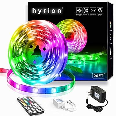 20ft hyrion Led Lights, Led Strip Lights with 44 Keys Remote Extra Adhesive Tape Color Changing Led Rope Lights for Bedroom, Tv, Kitchen, Under Bed Lighting
