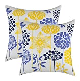 TREEWOOL (Pack of 2) Decorative Throw Pillow Covers Blossom Accent 100% Cotton Soft Cushion Shams...