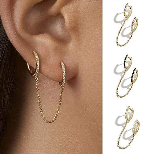 XIAOJING Nuevos Pendientes retráctiles Circulares de Moda para Mujeres, Hombres, Oro, Unisex, Doble Piercing para Orejas de aro para Mujer