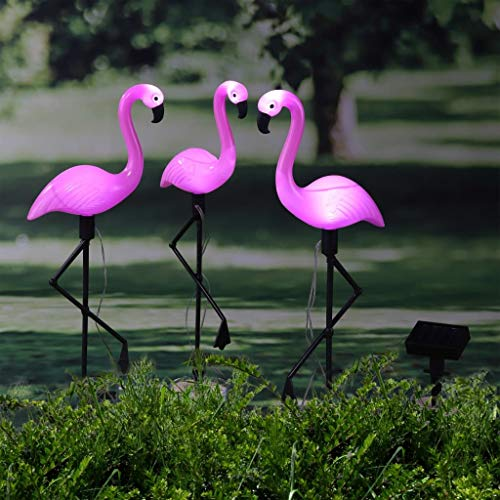 Flamingo Gartenfigur 3er-Set Solar-Lampe Solarleuchte Garten Gartendeko ca.52cm