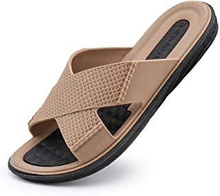 Mens Beach Slippers Summer Outdoor Sandals Summer Breathable Beach Shoes (Color : Khaki, Size : 40)