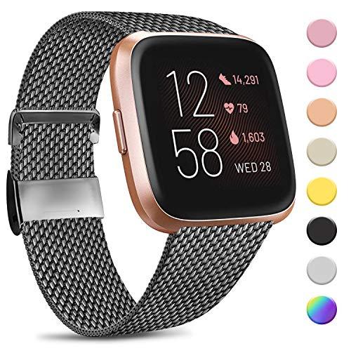 Amzpas Kompatibel mit Fitbit Versa Armband/Fitbit Versa 2 Armband, Metall Edelstahl Handgelenk Ersatzband Armbänder Kompatibel mit Fitbit Versa/Versa 2/Versa Lite (S, Space grau)