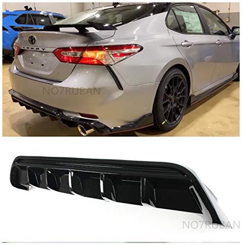 NO7RUBAN Rear Lip Bumper Valance Diffuser Fits 2018-2020 Camry SE XSE GT Shark Fin Glossy Black Splitter Spoiler