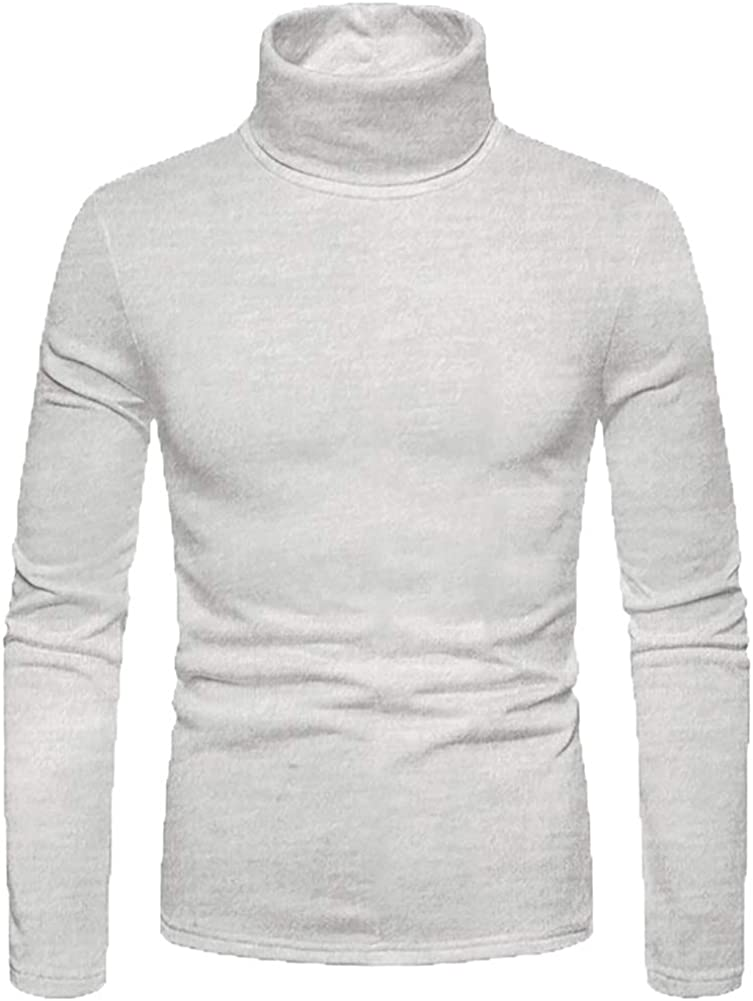 Men's Fashion Pullover Turtleneck Sweaters - Basic Knitted Turtleneck Sweater Solid Color Tops - 8Colors