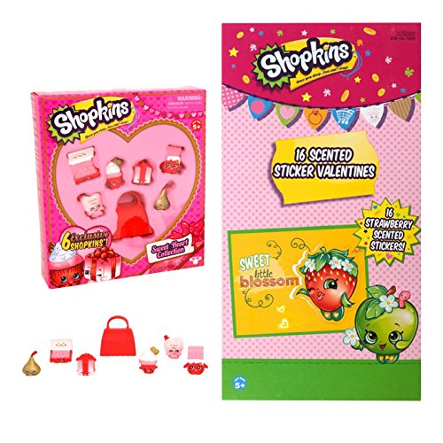 Shopkins Themed Sweetheart Collection Set and 32 Classroom Exchange Cards