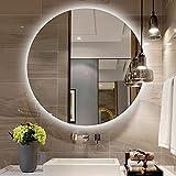 YZJJ Espejo de baño con Luces LED, Espejo de tocador Redondo Espejo de Maquillaje montado en la Pared con Interruptor...