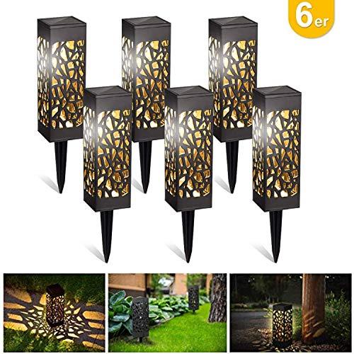 kefflum Solarleuchte Garten LED Solarlampe Gartenleuchte für draußen 6 Stück Warmweiße LED Solar Laterne Wasserdicht IP55,Decorative Solarlampe Landschaftsbeleuchtungs Fahrstraßen für Rasen