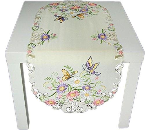 Tischdecke 40x90 cm oval Creme Schmetterlinge Gestickt Läufer Decke Frühling Sommer (Tischläufer 40x90 cm oval)