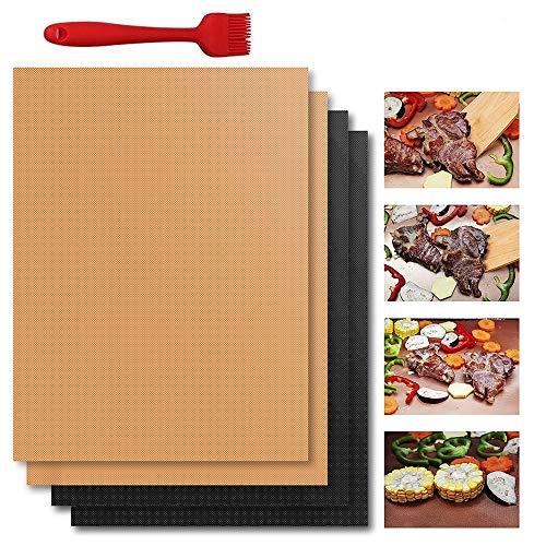 BestCool Grillmatte, 4 Packungen Grillmatten Antihaft-Mehrweg-Grillmatten für Elektrogrill-Gas-Holzkohlegrill, 40—33 cm (15,74-12,99 in)