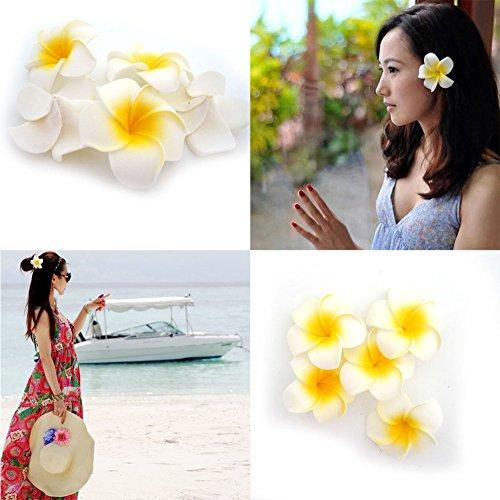 25 Happy Will 100 Pcs Hawaiian Foam Artificial Plumeria Rubra Hawaiian Flower Petals For Wedding Party Decoration