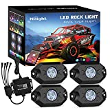 Nilight 4PCS RGB LED Rock Light Kits with Phone App Control & Cell Phone Control & Timing & Music & Flashing & Automatic Control & Color Grad Multicolor Neon Lights Off Road Truck SUV ATV Motor