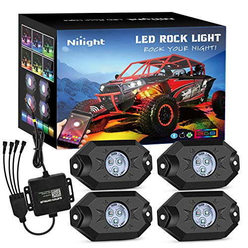 Nilight RGB LED Rock Lights Kit, 4 pods Underglow Multicolor Neon Light Pod with Bluetooth App Control Flashing Music Mode Wheel Well Light for Truck ATV UTV RZR SUV