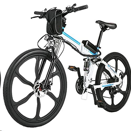 ANCHEER 26' Bici Elettrica da Città/Trekking/Mountain, 3 modalità di guida,Shimano a 21 velocità,Batteria Rimovibile agli Ioni di Litio da 36 V/8Ah,Sedile regolabile,Usato per Adulto Unisex (Bianco)