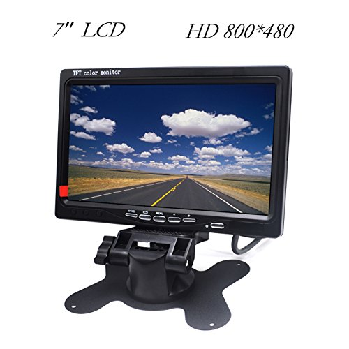HD Car Monitor Padarsey 7' HD 800×480 LED Backlight TFT LCD Monitor for Car Rearview Cameras, Car DVD, Serveillance Camera, STB, Satellite Receiver and Other Video Equipment
