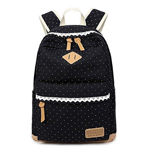 Preisvergleich Produktbild Weinlese-Tupfen Süße Spitze Beiläufige Segeltuch Rucksack Taschen für Frauen Freizeit-Reisetasche Schultaschen Für Jugendliche (Dunkelblau)