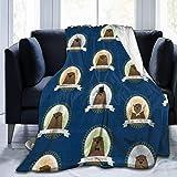256 Manta suave para otoño, invierno, primavera, todas las estaciones, cálida, ligera, térmica, de forro polar para verano, otoño, para sofá, cama, linda famosa marmota, azul, 152 x 127 cm