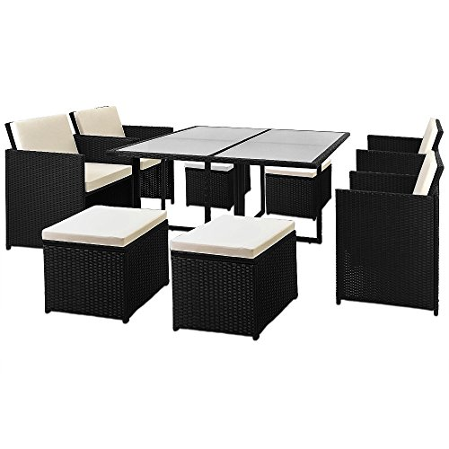 Deuba Poly Rattan Cube Set Size Choice Black Wicker Garden Furniture Outdoor Patio Conservatory Dining Table Chairs Stool (8 + 1)