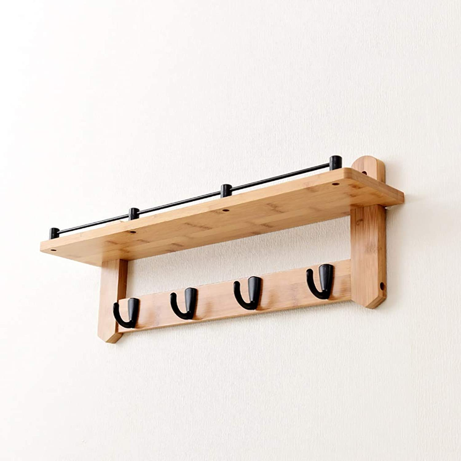 Wall-Mounted Coat Rack, Bamboo Wall Decorative Shelf with Metal Hooks (Light Brown) (Size   56  12  20cm)