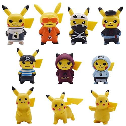 Babioms Pokémon Mini Figuras 10pcs Set Suministros de fiesta de cumpleaños Cupcake Pikachu Figura Decoraciones para tartas de fiesta Decoración de tartas para niños Cumpleaños Bebé niña Niño