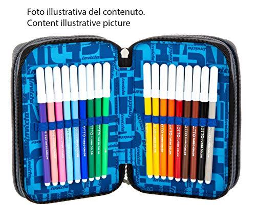 Astuccio 3 Scomparti Invicta , Kupang, Blu , Completo di matite, penne, pennarelli…