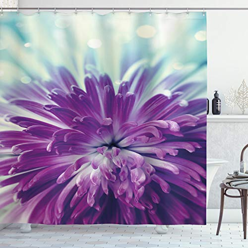 Ambesonne Dahlia Shower Curtain, Violet Colored Blooming Dahlia Close-Up with Petals in Pale Sunshine Floral, Cloth Fabric Bathroom Decor Set with Hooks, 70' Long, Mint Green