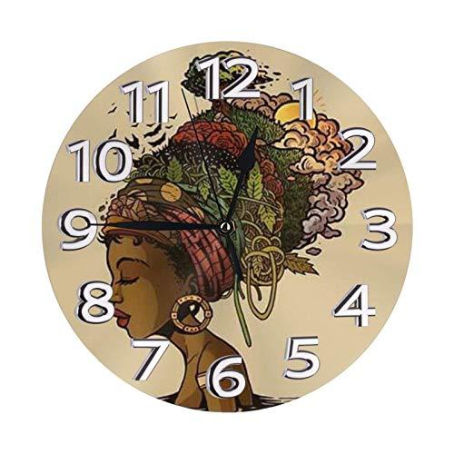 GOSMAO Reloj de Pared Redondo, Tocado Abstracto de Mujer Africana, Reloj de decoración del hogar para Sala de Estar, Dormitorio, Oficina
