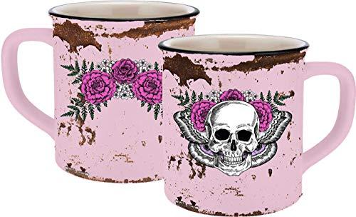 infinite by GEDA LABELS (INFKH) 13659 Totenkopf Lady Skull Emaille-Optik Tasse, Keramiktasse, Kaffeetasse, Keramik, Rosa
