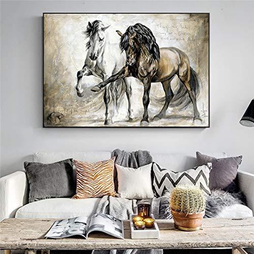 ganlanshu Rahmenlose MalereiVintage Ölpferd Leinwand Kunst Wandplakat und abstraktes Tier hängen Bild für Wohnzimmer Home Decoration20X30cm