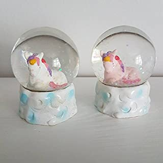45mm Unicorn Snow Globe Decoration - White - Gigi Queen Adventures In Unicorn