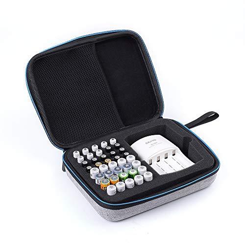 DingGreat Electronics Accessories - Caja organizadora de batería Dura con Capacidad para 20 Pilas AA, 20 Pilas AAA, Total de 40 Pilas (no Incluye Pilas y Cargador)