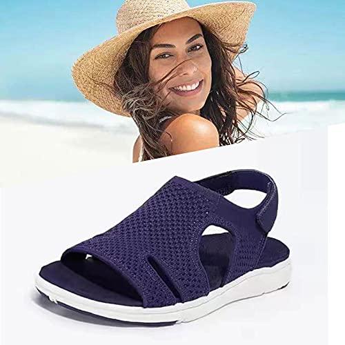 YYUI Gogolot Women Summer Breathable Elastic Sandal, Breathable Elastic Wedge Buckle Open Toe Sandals, Orthopedic Comfy Mesh Wedge Soft Ankle Sandals for Women (Dark Blue,7)