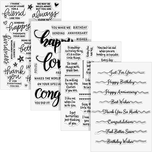4 Sheets Words Clear Stamp Silicone Stamp Cards with Sentiments, Greeting Words Pattern for Holiday Card Making and DIY Scrapbooking Journaling