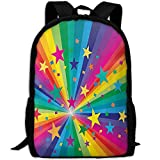 TTmom Zaini/Zaino Casual,Borse a Zainetto, Rainbow and Stars Confetti Rays...