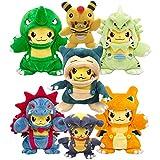 xuekun 7 Unids / Set Pokemon Pikach Juguete De Peluche Monstruo Tyranitar Kabigon Ampharos Garchomp Muñecos De Peluche Suave Regalo para Niños Navidad 30Cm