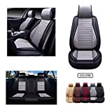OASIS AUTO Leather&Fabric Car Seat Covers, Faux Leatherette Automotive Vehicle Cushion Cover for Cars SUV Pick-up Truck Universal Fit Set Auto Interior Accessories (OS-005 Full Set, Grey)