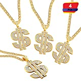 4 Pieces Gold Plated Chain Dollar Necklace for Men with Dollar Sign Pendant Necklace, Hip Hop Dollar Necklace (4 Pieces)