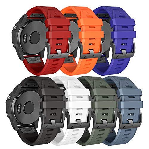 NotoCity Armband für Garmin Fenix 5/Fenix 5 Plus/Fenix 6/Fenix 6 Pro/Forerunner 935/945, 22mm Breite Silikon Quick-Fit Uhrenarmband, Mehrfache Farben (7PCS)