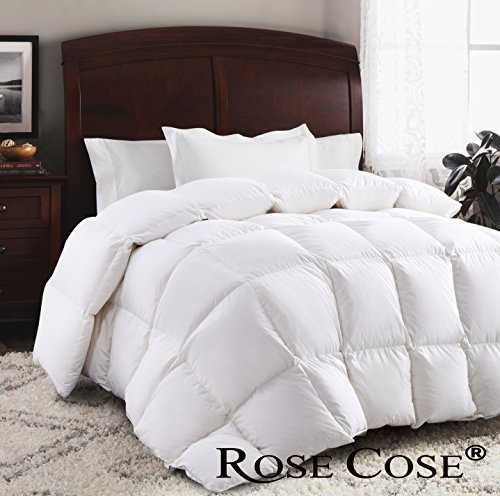 ROSECOSE Luxurious Goose Down Comforter Twin Size Duvet Insert All Seasons Solid White...