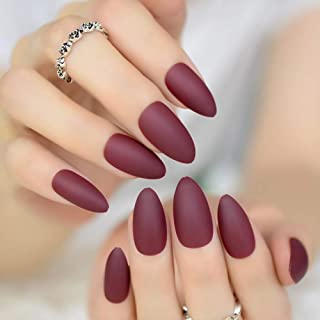 CoolNail Fashion Matte Soft Burgundy Stiletto Frosted False Fake Nails Oval Sharp Pointed Designed Salon Nail Art Tips Good Quality