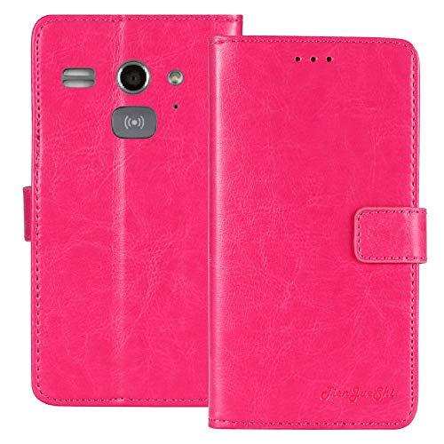 TienJueShi Rosa Flip Book-Style Brief Leder Tasche Schutz Hulle Handy Case Abdeckung Fall Wallet Cover Etui Skin Fur Doro Liberto 820 Mini 4 inch