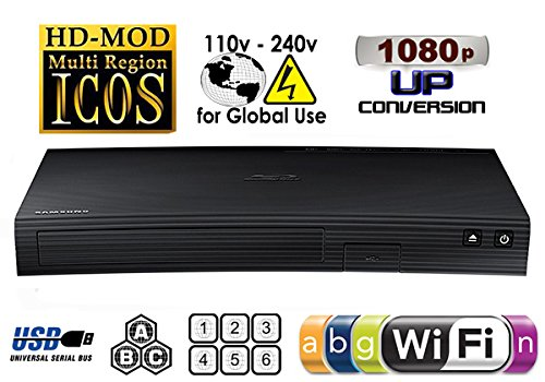 SAMSUNG BDJ-5700 (Compact 12W' x 2H' x 8D') WI-FI All Zone Multi Region DVD Blu ray Player - 100~240V 50/60Hz, 1 USB, 1 HDMI, 1 COAX, 1 ETHERNET + 6 Feet HDMI Cable Bundle