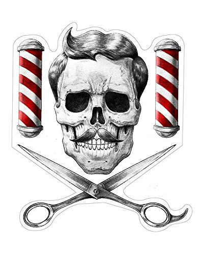 Barber Skull Aufkleber Sticker Schädel Totenkopf Bart Barbershop Schere Barberpole Rasiermesser Rasur Gentlemen Scheibanaufkleber