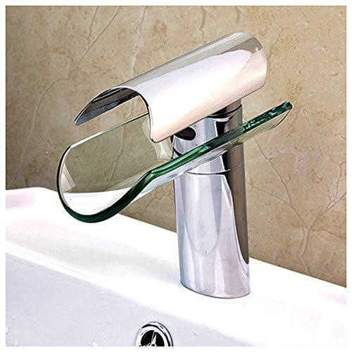 Badkamer waterval Monobloc, wastafel mixer kraan roestvrij staal handvat glazen kraan, lift-up wastafel kraan, enkele wastafel kraan