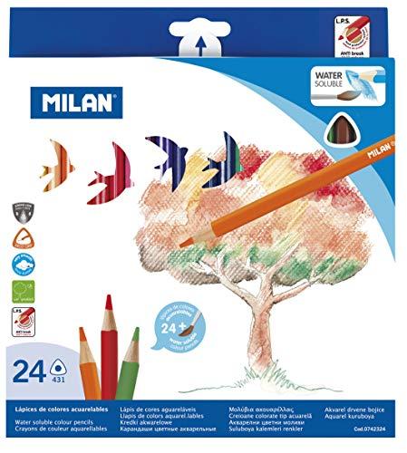 Milan 0742324 - Pack de 24 lápices triangulares, acuarelables