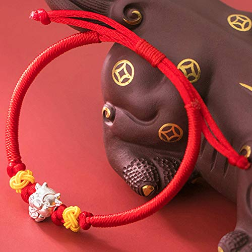 JIUXIAO Bracelets For Women,Lucky Charm Bracelet 2021 Year of The Ox S925 Silver Lucky Ox Pineapple Knot Red Rope Braided Bracelet Zodiac Bracelet Adjustable Amulet Attract Wealth