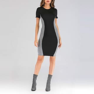 QGTDRESS Round Neck Stitching Silver Wire Slim Fit Sexy Dress, Size: XL(Black) (Color : Black, Size : M)